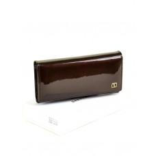Женский лаковый кошелек Gold W0807 dark-coffee
