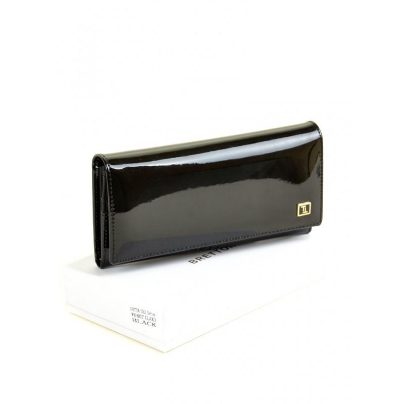 Женский лаковый кошелек Gold W0807 black