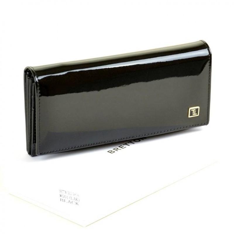 Женский лаковый кошелек Gold W501 black