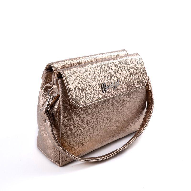 Женская золотая сумка с длинным ремешком М126-69