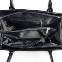 Женская каркасная лаковая сумка черная М50-лак/Z