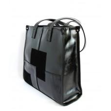Женская деловая сумка М102-27/замш/лак